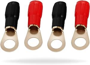 InstallGear 4 Gauge AWG Crimp Ring Terminals Connectors - 4-Pack (2 Positive, 2 Negative)