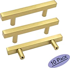 goldenwarm Brass Kitchen Hardware 3in(76mm) Gold Drawer Pulls 10Pack - LS1212GD76 Brass Cabinet Pulls Gold Handles for Drawers Bathroom Cabinet Pulls 5in Overall Length