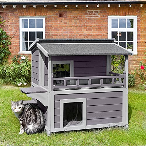 Cat House for Outdoor Feral Cats Enclosure with Large Balcony, Wooden Kitty Shelter,Waterproof