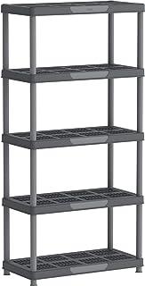 Cosmoplast IFOFSH003CG Plastic Heavy-duty Shelving Rack 5 Tiers Storage Unit, Grey Mix, H 185.0 x W 45.0 x D 90.0 cm