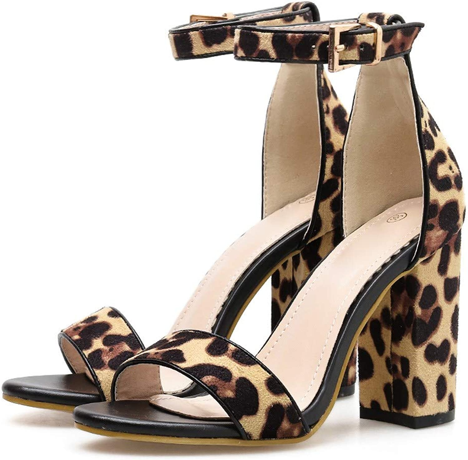 WM & MW Women Sandals Peep Toe Sandals Fashion Leopard High Heel Sandals Sexy Buckle Ankle Strap Square Heel shoes