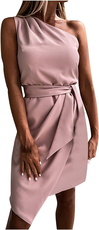 Women's Sexy One Shoulder Sleeveless Wrap Dress Casual Irregular Hem Slim Plain Mini Dress with Belt