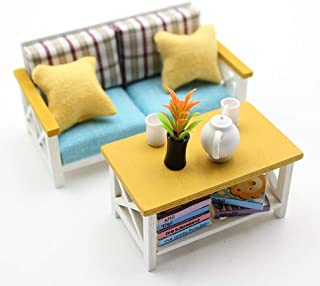 DIY Dollhouse Accessories and Furniture - Kit Dollhouse Couch Miniature Doll House Furnishings Crafts for Adults Scale 1:18 Wooden Dollhouse Furniture Set - Dollhouse Sofa with Table