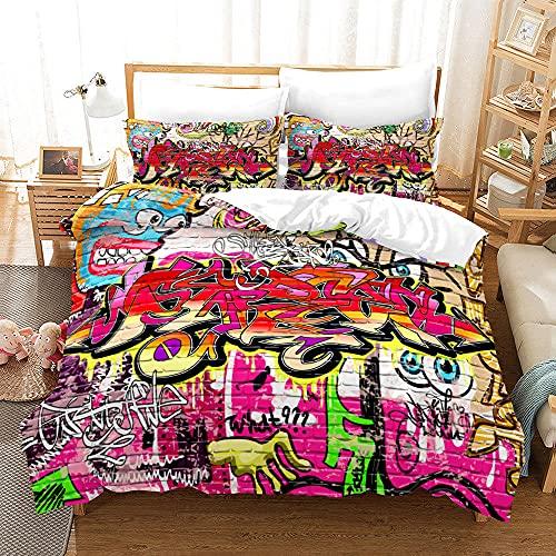 Bedclothes-Blanket Juego de sabanas Infantiles Cama 90,SANDET Patrón de Tendencia de la Calle Hip Hop de Tres Piezas 3D-5_150 * 200 cm
