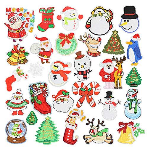 30 Stück bestickte Applikationen, Weihnachtsmann Schneemann bestickte Aufnäher zum Aufbügeln für Weihnachten, Festival, Party, Stoff, Hut, DIY Dekoration