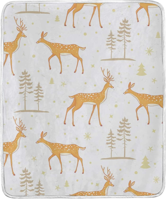 Vantaso Blankets Forest Yellow Deer Throws Soft Kids Girls Boys 50x60 inch