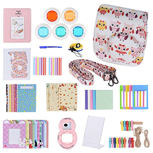 Andoer 14 in 1 Accesorios Kit para Fujifilm Instax Mini 8/8+/8s incluye Bolsa, Selfie Lente, Colores, Marcos de Película, Wall Hanging Frame, Corner Sticker, Border Sticker, Pluma (Kit E)