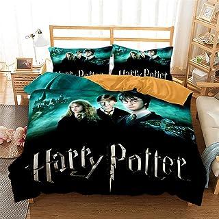 Housse De Couette 2 Personnes Ensemble 3 Pièces Harry Potter Housse De Couette 220X240 Cm avec Fermeture Éclair 100% Polye...