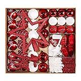 Petrichor 4-20cm Adornos arbol de Navidad, 80 Pcs Bolas de Navidad Set con Percha, Adornos Decorativos Regalos de Colgantes de Navidad