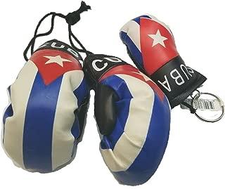 2pcs Cuba Boxing Glove Keychain w/ Cuban Car Mirror Boxing Glove Pair Banner