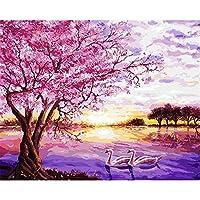 DIYデジタル絵画による数字パッケージ白鳥湖油絵壁画キット着色壁アート画像ギフトフレームレス40×50センチ