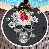 Changlesu - Serviette de bain épaisse pour la plage - Ronde - Imprimé tête de mort 3D - Tissu compressé, 2, 150cmX150cm