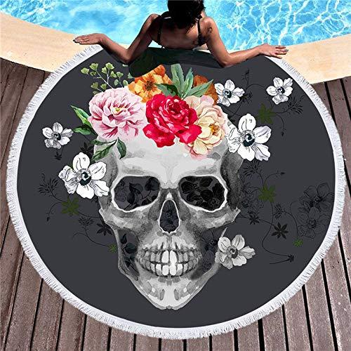 n Changlesu - Gran toalla de baño de playa gruesa redonda con diseño de calavera 3D impreso, tela de rápida compresión, tapiz, alfombrilla de yoga, 2, 150cmX150cm