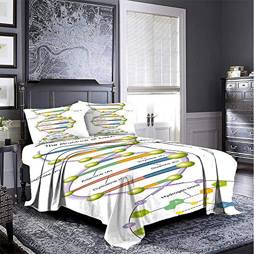 Educational 3 piece set beautifully printed on the bed Colorful-Structure-of-DNA-Genetic-Code-Amino-Acids-Nucleotides-Scientific-Study Easy to install breathable and heat-dissipating sheets very comf