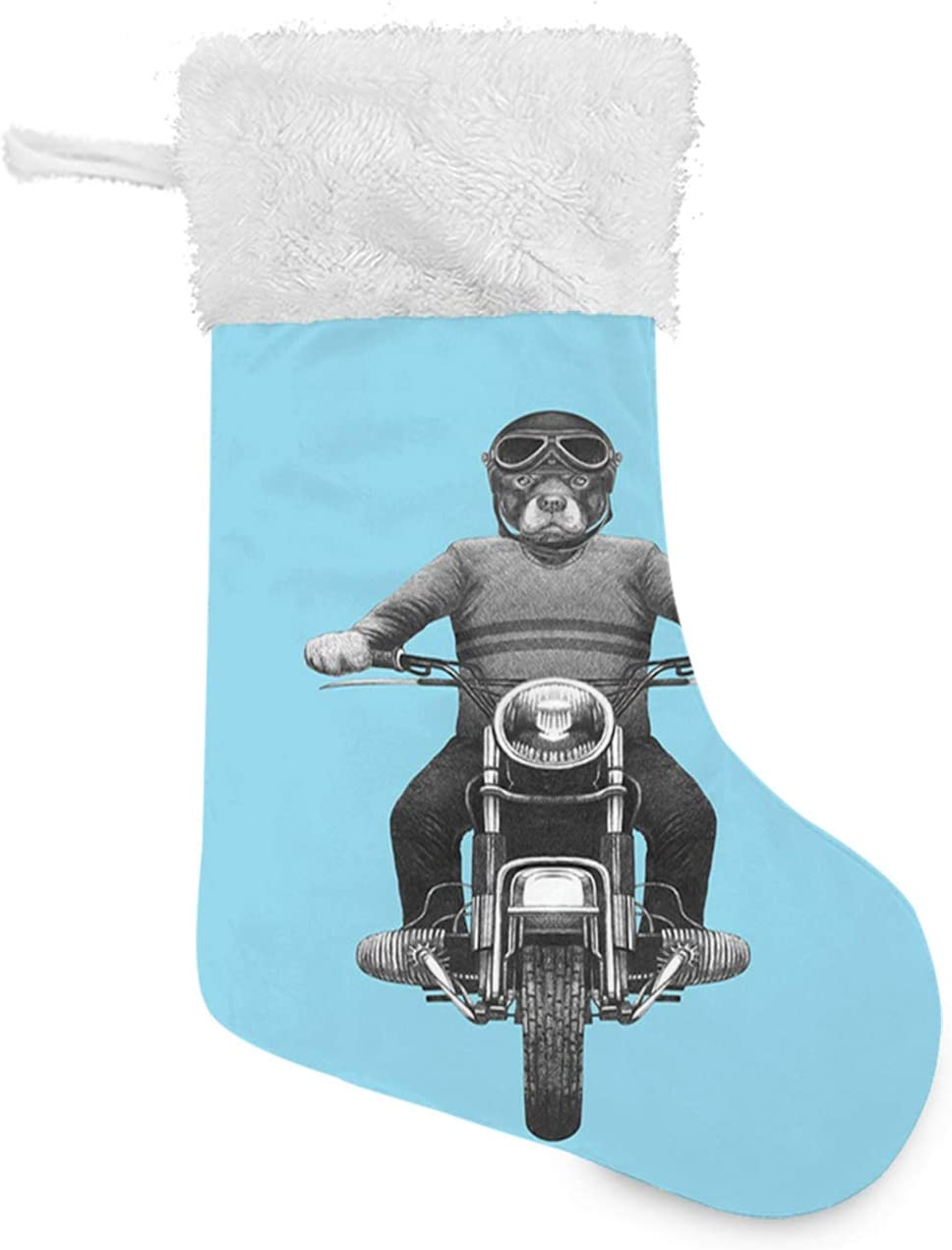 FULIYA Christmas Stocking, Dog Breed Riding Motorcycle Adventurous Scooter Hard Hat, Xmas Character 3D Plush with Faux Fur Cuff Christmas Decorations and Party Accessory