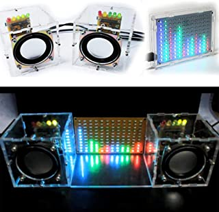 BONATECH Transparent Stereo Speaker Box DIY Kit Sound Amplifier with LED colorfule Music Spectrum