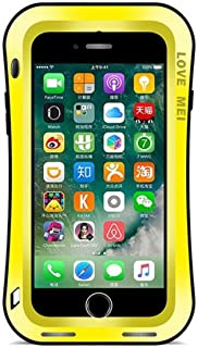 iPhone 7 Plus/iPhone 8 Plus Water Resistant Hybrid Bumper Case, CHEETOP Build-in Gorilla Glass Screen Film Heavy Duty Full Body Protection Shockproof Metal Cover for iPhone7 Plus/iPhone8 Plus (Yellow)