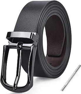 Cinturon Hombre Cuero Negro Marrón Jeans Reversible Piel Cinturón para Hombres Clásico Negocios Casual Trabajo Traje Hebilla Cinturones