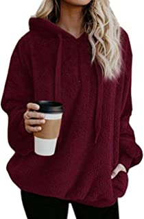 Sexyshine Women's Fall Winter Long Sleeve Warm Fuzzy Pullover Hooded Fleece Sweatshirt 1/4 Zip Up Outerwear Hoodie Pockets