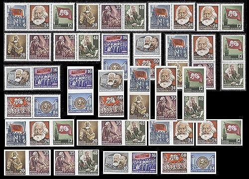Goldhahn DDR Karl-Marx postfrischZusammendruckkombinationen - Briefmarken für Sammler
