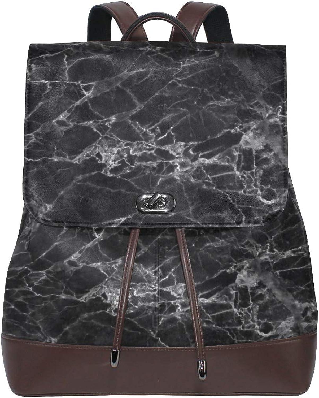 FAJRO Awesome Black Marble Travel Backpack Leather Handbag School Pack