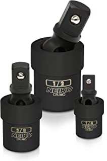 Neiko 02486A Black Complete Impact Universal Joint Socket Swivel Set, 3 Piece, Cr-Mo | ¼, 3/8, ½-Inch Drive