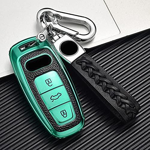 ZYHYCH Leather + TPU All-Inclusive Car Remote Key Cover Case, Apto para Audi A6L A7 A8 Q8 E-Tron C8 D5 2018 2019 2020 Llavero de Coche, Verde, B