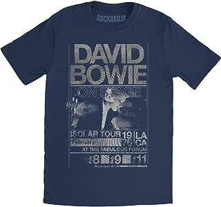 David Bowie Men's Isolar Tour 1976 Slim Fit T-shirt Navy