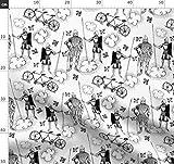 Fahrrad, Tandem, Wolken, Ritter, Illustration Stoffe -