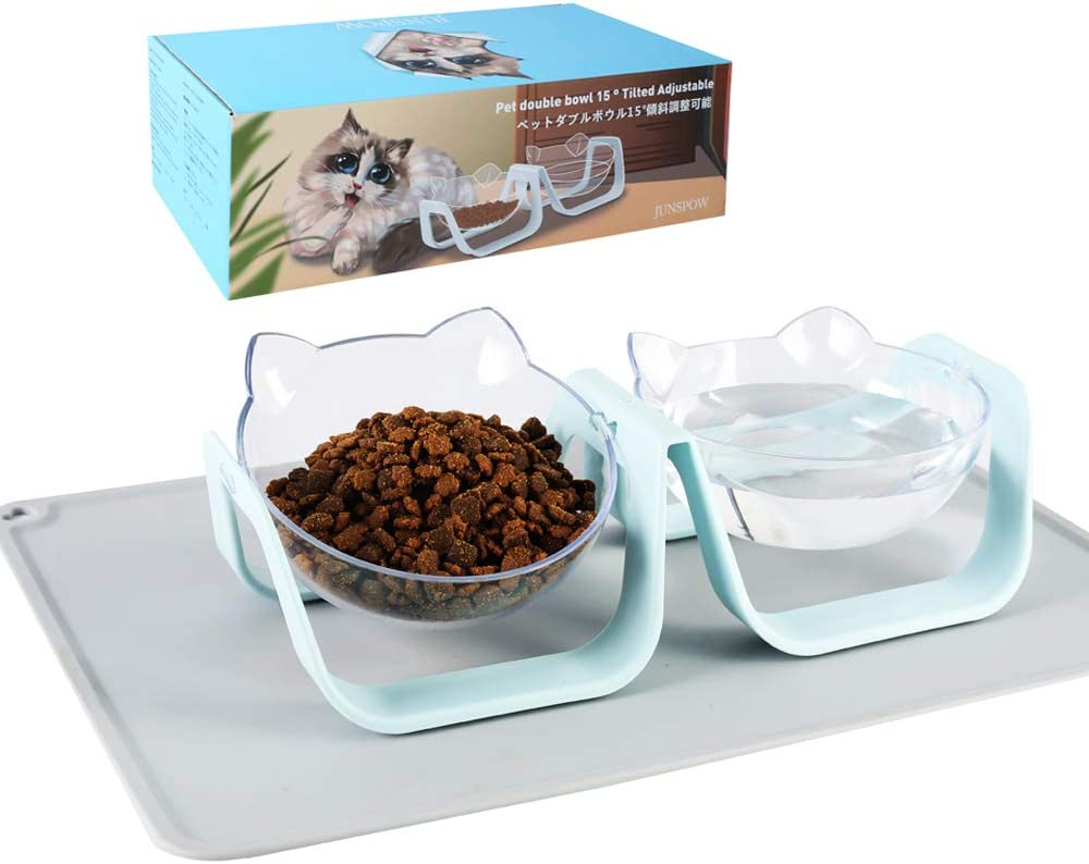 JUNSPOW San Antonio Mall online shop Cat Food and Water Bowl with Do placemat pet Set Comes
