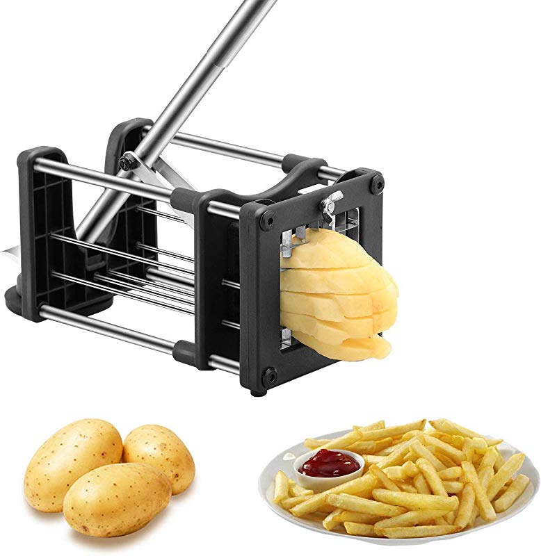 Meshist French Fry Cutter Potato Chipper With 2 Interchangeable Stainless Steel Blades Vegetable Slicer For Potatoes Carrots Cucumbers For Home Kitchen