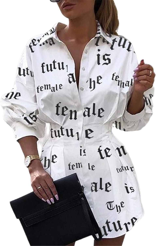 Shirts Dresses for Women Button Down - Floral Print Long Sleeve Blouse Tops Mini Dress Big Letter White L
