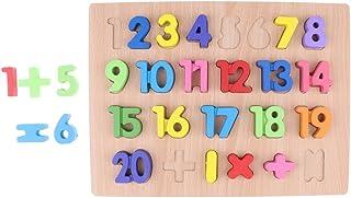 Perfk ウッド製 数字/アルファベットブロック マッチングブロック 木のおもちゃ スタッキングゲーム 幼児おもちゃ 4色選ぶ - 1-20数字ブロック