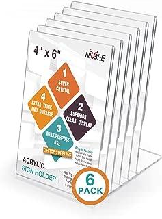 NIUBEE 6Pack Slant Back Acrylic Sign Holder 4x6 inches, Clear Vertical Picture Frames Lucite Frames, Desktop Flyer Holder Document Holder Paper Display Stand