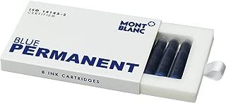 Montblanc Ink Cartridges Permanent Blue 107758 – Document-Proof Fountain Pen Refills in Dark Blue – 8 International Standard Pen Cartridges