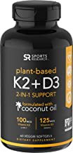 Vitamin K2 + D3 with Organic Coconut Oil for Better Absorption | 2-in-1 Support for Your Heart, Bones & Teeth | Vegan Certified, GMO & Gluten Free (60 Veggie Softgels)