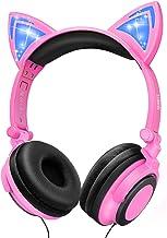 LOBKIN Kids Headphones Over Ear, Light Up Wired Adjustable Headphones On Ear, Cat Ear Headset, 3.5mm Aux Jack, Led Glowing...