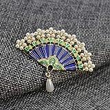 XZROOKEI Simulación de Cosecha de Perlas Broche de Esmalte Ventilador Pines para Muchachas de Las Mujeres Elegantes de la Boda Adornos Compromiso Banquetes Blue Coat Color Oro