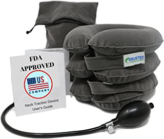 Trusted Cervical Neck Traction Device | One Size Fits All ★ US Owned FDA Registered Pain Relief for Chronic Neck & Shoulder Alignment Pain | Inflatable Neck Stretcher Collar for Home Relief