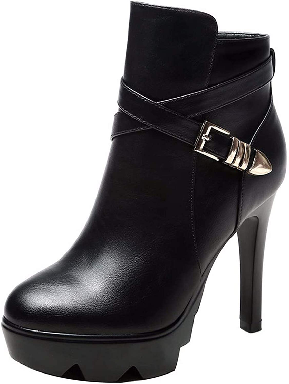 HBDLH Damenschuhe Dicke Sohle Martin Stiefel Heel 11 cm Wasserdichte Plattform Dünne Sohle Kurze Stiefel Dünn Stiefel  | Zürich