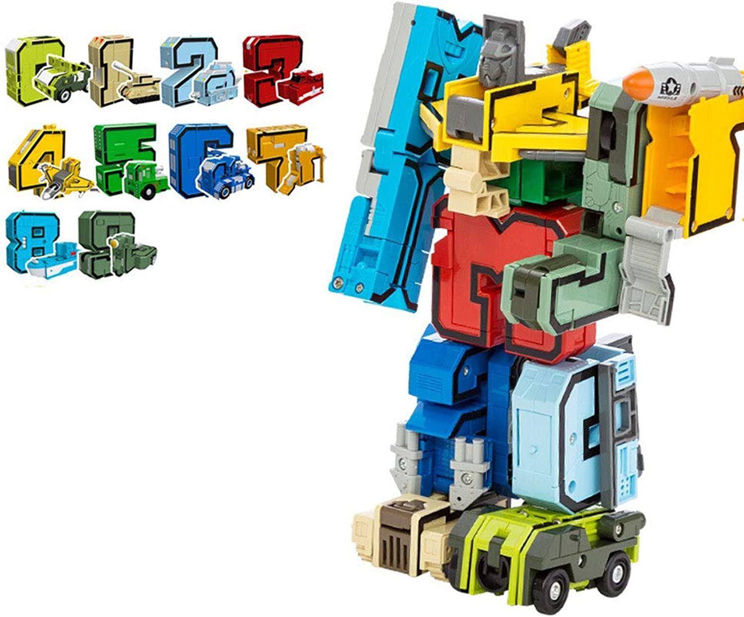 Hai Yan Boutique Toys Digital Deformation Robot Early Education Puzzle Baby Toy Transformers Boy Intellectual Development Assembling Blocks 3-6-8 Years Old Baby Birthday Gift (color   A)