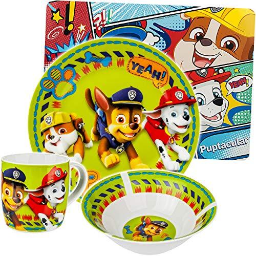 alles-meine.de GmbH 4 TLG. Geschirrset - Motivwahl + Artikelwahl - Porzellan / Keramik - Paw Patrol - Hunde - Trinktasse + Teller + Müslischale + Platzset - Kindergeschirr - Früh..