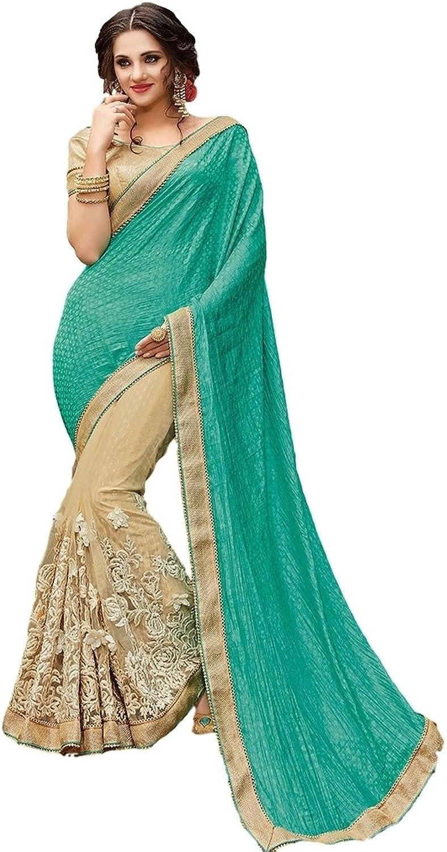 EthnicWear Classy Elegant Teal Beige Half n Half Net Jacquard Festival Traditional Women Wear Beautiful Saree