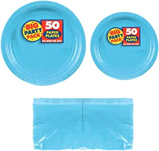 Serves 50 | Big Party Pack Caribbean Blue 50-Set (Dinner Plates, Dessert Plates, Luncheon Napkins) Party Avenue Bundle-Pack | Complete Party Pack | Baby Shower, Office parties, Birthday Parties, Festivals, Light Blue Party Theme
