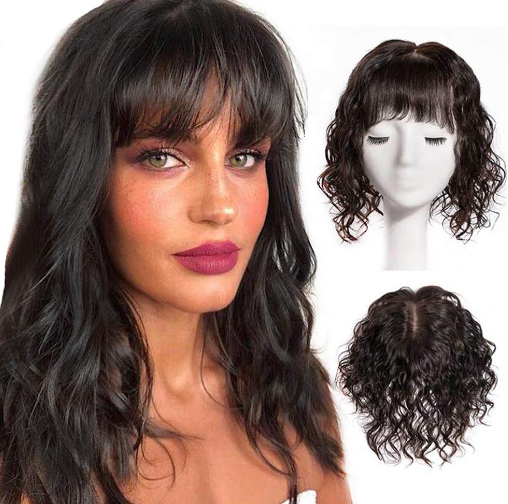 13x13cm Silk Base Curly Human New sales Hair Toupee Pieces famous Clip Top in