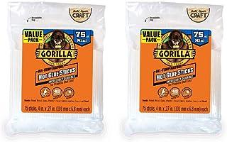 """Gorilla Hot Glue Sticks, Mini Size, 4"""" Long x .27"""" Diameter, 75 Count, Clear, (Pack of 2)"""