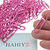 HAHIYO Paper Clips 1.3' (33mm) Length Pink Paperclips Vinyl Coated Prevent Scratching Tearing The Pages Sturdy for Bookmark Organize Home Office School 120 Pack