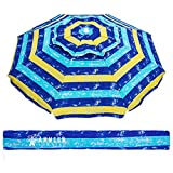 AMMSUN 6.5 Ft Outdoor Patio Beach Umbrella Sun Shelter with Tilt and Carry Bag UPF 50+for for Patio Garden Beach Pool Backyard Multicolor Yellow Blue