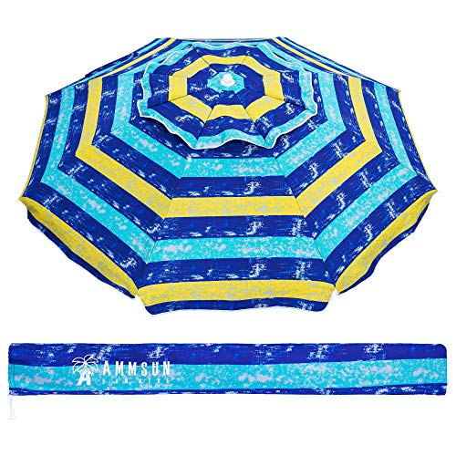 AMMSUN 6.5 Ft Outdoor Patio Beach Umbrella Sun Shelter with Tilt and Carry Bag UPF 50+ Multicolor Yellow Blue