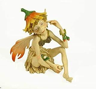 CAPRILO Figura Decorativa Fantasía de Resina Duende Sentado Multicolor Adornos y Esculturas. Decoración Hogar. Regalos Ori...